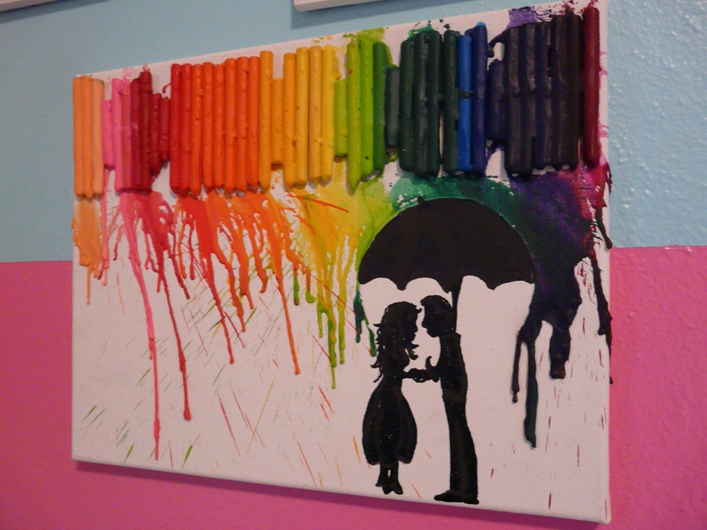 how to make crayon art umbrella