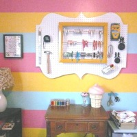 DIY Shaped Pegboard and Cute Ribbon Storage