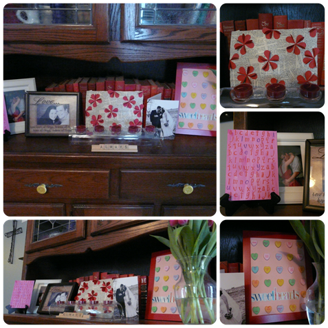 Valentine's Day mantle Collage